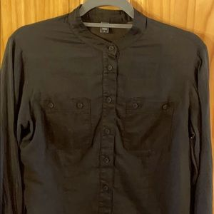European Culture Sheer  Collarless Button Up Large